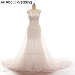 Wholesale Exquisite Sweetheart Mermaid - Pink Flower Romantic Wedding Dresses Illusion Corset Exquisite Handmade Beading Illusion Skirt Leg Soft Tulle with Scarf