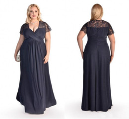 Wholesale Short Dresses Latest - Plus Size Evening Dresses 2016 Latest Black Chiffon Deep V Neck Short Sleeves Lace Pleats Zip Back Formal Prom Gowns Custom Made EN5034