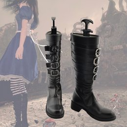 Wholesale Alice Shoes - Wholesale-Alice Madness Returns black ver Cosplay Boots Shoes shoe boot #NC625 Custom made Hand made
