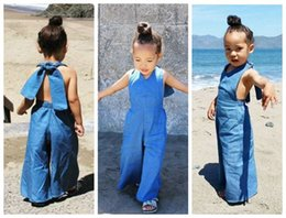 Wholesale Wholesale Baby Boots - 2016 fashion kid girls jumpsuit baby overalls jeans cotton bodysuit girl halter neck backless boot cut pants denim overalls bells wholesale