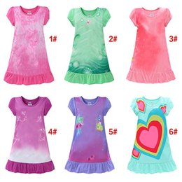 Wholesale Christmas Pajamas Summer - summer girls dresses kids pajamas polyester nightgowns sleepwear clothes for 3~9T