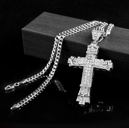 Wholesale Crucifix Pendant Chain - New Retro Silver Cross Charm Pendant Full Ice Out CZ Simulated Diamonds Catholic Crucifix Pendant Necklace With Long Cuban Chain