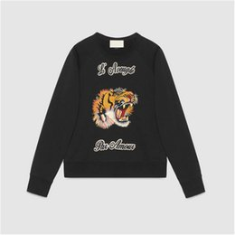 Wholesale Clothes Tigers Women - New style sweatshirt men women brand clothing simple embroidery tiger head pattern tracksuit male top quality black hoodies