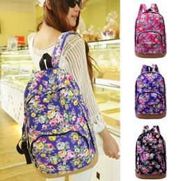 Wholesale Vintage Canvas Backpack Floral - Women Floral Vintage Canvas Shoulder Bag Backpack Travel School Casual Rucksack