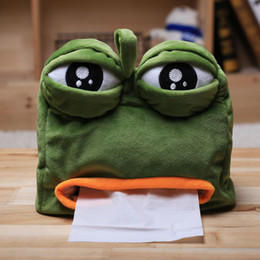 Wholesale Toilet Tissue Box Holder - 923 HANCHENTE Sad Frog Tissue Plush Box Green 22*21cm Soft Hand Paper Holder Plush Toilet Paper Holder Box Stuffed Animals Frog Toy