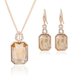 Wholesale Golden Earrings 14k - Rectangular Shape Bijoux Earrings Necklaces Set For Women New Arrival Crystal Jewelry Sets Fine Wedding Jewelry collier femme