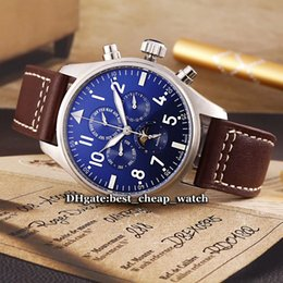 Wholesale Automatic Watch Big Case - High Quality Brand Big Montre d' Aviateur Complex Features Moon Phase Blue Dial Automatic Mens Watch Silver Case Leather Strap Gents Watches