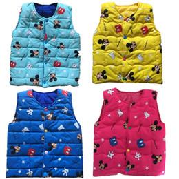 Wholesale Baby Geese - New Autumn Winter Kids Vest Cartoon Vest Jacket Print Baby Boys Girls Waistcoat Cotton Sleeveless Parka Outwear Cute Children Clothing