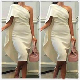Wholesale Short Beige Evening Dress - Fashion Beige One Shoulder Cocktail Dresses Tea Length Satin Evening Party Wear Custom Made Gowns Cheap 2017