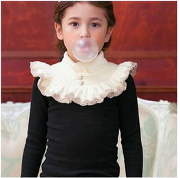 Wholesale Girls Shirts Collars - Children T-shirts girls velvet lace embroidery high collar tees Kids falbala long sleeve bows thicken tops Girls warm clothes C1894