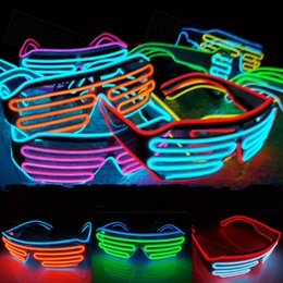 Wholesale Prop Lights - Multicolor Eyeglass Cold Lights EL Wire LED Light Glasses Party Supplies Cheerleading Cheer Props For Christmas Gift 15oy C R