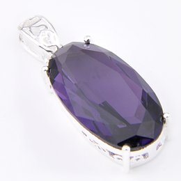 Wholesale Sterling Silver Charms Wholesale Usa - Luckyshine 6Pcs Luckyshine Superb Classic Fire Oval Amethyst 925 Sterling Silver Plated Pendants Russia Australia USA Pendants Jewelry