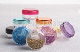 Wholesale Bottle Gift Plastic - 5000pcs 3g transparent small round bottle jars pot,clear plastic container for nail art storage DHL Fedex Free shipping