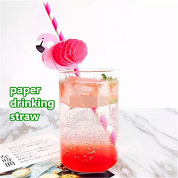 Canada Flamingo Paper Paille à boire 3 couleurs Paille de papier à usage unique pour boire Fête de Mariage Décoration de Fête kid399 Offre