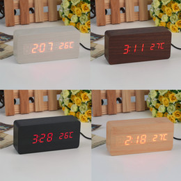Wholesale Thermometer Big - Large Size LED Wooden Alarm Clocks with Thermometer Rectangle Table Clocks Big Numbers Digital Clock Classic LED Wooden Clocks