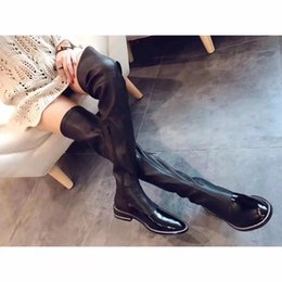Wholesale Lace Up Studded Boots - Thigh High Boots Rivets Stretch Fabric Flat heel Women Moto Booties Slim Studded Leather Long Ladies Boots