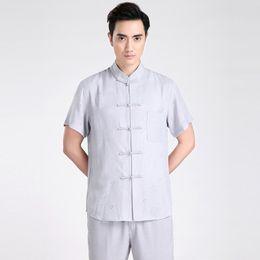 Argentina Envío gratis manga corta traje Tang chino tradicional ropa Kung Fu camisa de cuello mandarín impresión camisa china de lino top chino Suministro