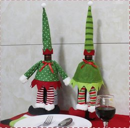 Wholesale Christmas Elf Clothes - Christmas Elf Red Wine Bottle Sets Cover with Christmas Hat and Clothes for Christmas Dinner Decoration Home Halloween Gift