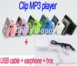 Wholesale Mini Mirror Clip Mp3 - Best Gift Mirror C Mini Clip MP3 Player With TF Card Insert Support To 8GB + USB+Earphone+Crystal Box
