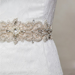 Wholesale Crystal Wedding Belts - 2015 Stunning! Bridal Sashes Beaded Dazzling Wedding Belts Elastic Satin Pearl Crystal Bridal Accessories For Wedding Dress