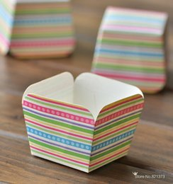 Wholesale Square Cupcake Stands - Free Shipping individual cupcake holder stand for sale kids birthday party supplies, stripe square paper cake baking cases cups