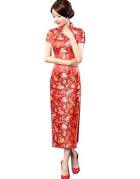 Wholesale Long Silk Print - Free shipping high-grade long cheongsam Rayon Chinese cheongsam qipao dress chinese traditional clothing oriental dresses Cheap Qipao