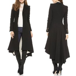 Wholesale Evening Eyes - Fashion Women Laides Long Sleeve Pleated Blazer Evening Party Trench Coat Outwear