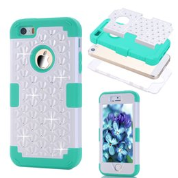Wholesale Iphone 5c Hard Silicone - Diamond For iPhone 6 6s plus 5 5s SE 5C Shockproof Protect Hybrid Hard Rubber Impact Skin Armor Cases free Film + Stylus Pen