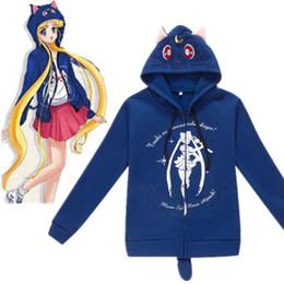Wholesale Gothic Sweatshirt - New Anime Sailor Moon Harajuku Cat Cartoon COS Hooded Hoodies gothic Sweatshirt Costume Cute Luna Kawaii cosplay Hoodies Lolita Coat