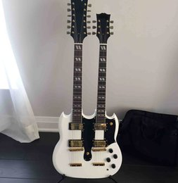 Wholesale String Body Bridge - free shipping Personal Tailor white Double Neck 6&12 Strings Electric guitar real bridge Gib Rosewood Fingerboard Can customization
