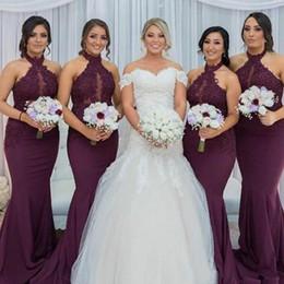 Wholesale halter mermaid wedding dresses - 2017 Hot Purple Grape Mermaid Bridesmaid Dress Vintage Arabic Halter Neck Lace Top Wedding Guest Maid of Honor Gown Plus Size Custom Made