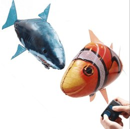Wholesale Remote Control Animal Rc Fish - Air Swimmers Flying Shark Clown Fish Remote Control Fly Clownfish blimp floating Sharks Toys Inflatable helium Balloons RC Air Swimmer Toys