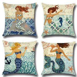 Wholesale Woven Textiles Wholesale - 4 Styles 45*45cm Sea Life Little Mermaid Pillow Case Linen Cotton Square Throw Pillowcase Home Sofa Bedding Home Textiles CCA7733 50pcs