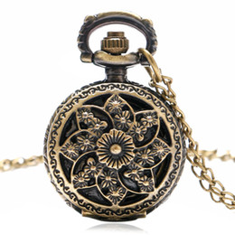 Wholesale Necklace Small Pocket Watches - Wholesale-small vintage bronze windmill beautiful flowers pendant necklace bracelet pocket watch P545