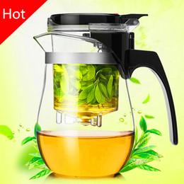 Wholesale Kung Fu Tea Set Sale - Wholesale-Hot sale 500ml Heat Resistant Glass Tea Pot Flower Tea Set Puer kettle Coffee Teapot Convenient Office Teaset 1pcs,kung fu set.