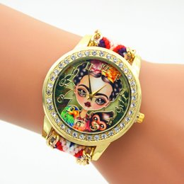 Wholesale Round Bracelet Patterns - Fashion Girl Monkey Pattern Watches Women Luxury Diamond Bracelet Watch Weave Rope Wristwatch wool Braided Quartz Dress Watches for women