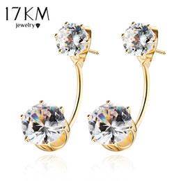 Wholesale Tibetan Wedding Jewelry - 17KM Boho Vintage Tibetan Double Side Crystal Stud Earrings For Women Fashion Gold Color Ball Party Wedding Jewelry Dropship