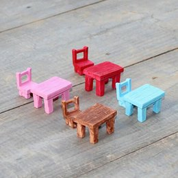 Wholesale Wedding Tables China - 2016 Cute artificial chair and table Ornaments miniatures for fairy garden gnome resin crafts bonsai bottle garden decoration