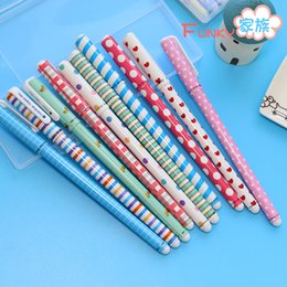 Wholesale Set Gift Gel - Wholesale-5Pcs Lot New Cute Cartoon Color Gel Pen Set Kawaii color pen Refill Korean Stationery Creative Gift School Supplies