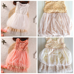 Wholesale Taffeta Chiffon Flower Girls - Little Girls Rose flower layers tutu Dress Embroidered Ball Dresses 4 colors 5 size sz90-130 u pick