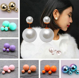 Wholesale Earring Frosted - Hot Sell 16 Colors High Quality Free Shipping Double Sided Women Pearl Earrings Matte frosted stud earrings Pearl Stud Earrings 2957