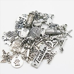 Wholesale Diy Slide Charms Hearts - Mixed Vintage Alloy Charms Expandable Bangle Charms Metal DIY Finding Chain Charms 50pcs lot AAC