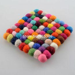Wholesale Wool Table Mat - Wholesale- 1pc Handmade Wool Felt Ball Trivet Table Heat Resistant Mat Cup Coaster