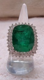 Wholesale Natural Diamond Ring Ct - THE SOUL OF NEPTUNE NATURAL EMERALD 22.23 CT RING w 60 WHITE SPECTACLE DIAMONDS