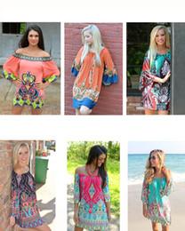 Wholesale Plus Size Woman Dress Mini - Cheapest Summer Dress Floral Print Vintage Women Plus Size Milk Silk Casual Sexy Dress Ice Silk Print Short Beach Dress