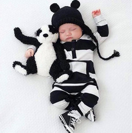 Wholesale White Overalls Baby Boy - New Ins Baby Girls Boys One-piece Rompers Kids Striped Long Sleeve Jumpsuits Overalls Children Black White Rompers 12434