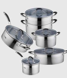 Wholesale Induction Cooker Set - Wholesale-Free shipping Germany #304 inox cookware pot set full set thick cooking pot energy pot work on induction cooker 11pcs
