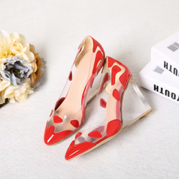 Wholesale Pointy Wedges - 2017 autumn Europe and the United States new fashion slope with leather pointy color transparent single shoes