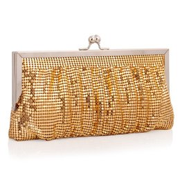Wholesale Metallic Gold Clutch Purse - hot sale fashion ladys glittering sequined clutch evening bags purse small golden woman lady designer handbag
