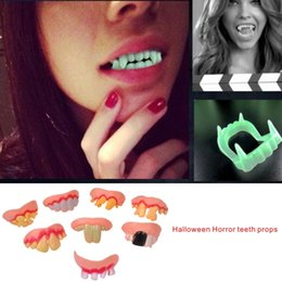 Wholesale Glow Products Wholesale - Green Glowing Style Denture Halloween Horror Teeth Props High-quality Silicone+plastic Products, Very Safe Adult Children Can Use.